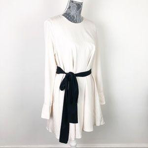 Zara White Long Sleeved Dress with waist tie
